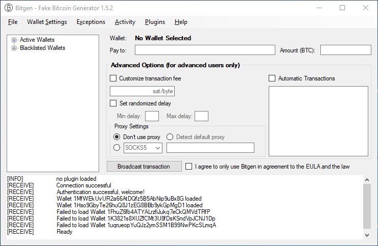 Fake Bitcoin Transaction Sender Software